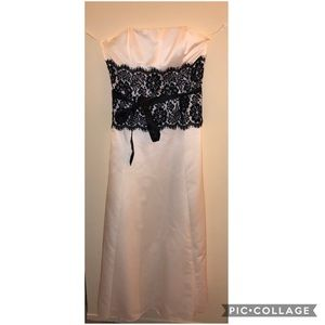 White prom dress with black lace